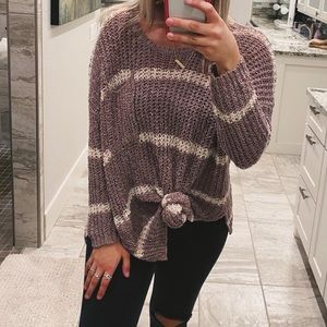 free people brown striped front pocket sweater